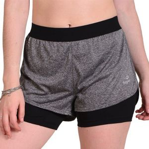 SHORT MUJER TOPPER 2 IN 1 GRIS OSCURO